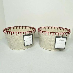 """Two Storage Bins 8"""" Gray With Large Red Stitching"""